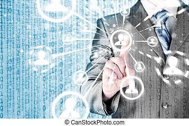 mídia, mão, apertando, social, homem, ícone