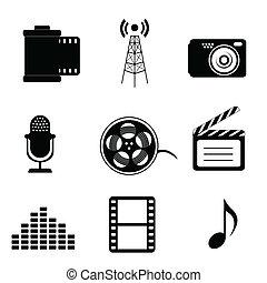 mídia, massa, ícones