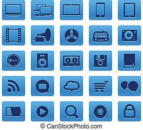 mídia, modernos, isolado, cobrança, botões, social, branca