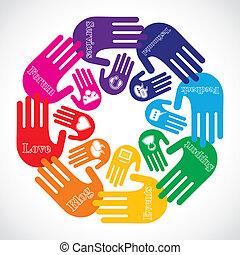 mídia, mostrando, ícones, mão, social