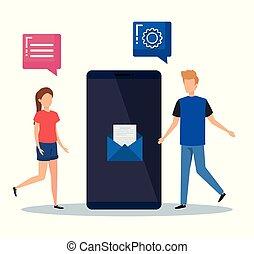 mídia, mulher, smartphone, tecnologia, homem