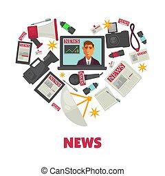mídia, notícia, e, jornalismo, vetorial, cartaz