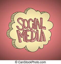 mídia, nuvem, social