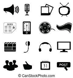 mídia, ou, multimedia, ícones