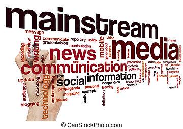 mídia, palavra, mainstream, nuvem