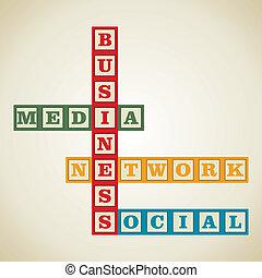 mídia, palavra, negócio, social
