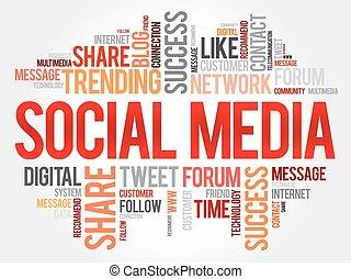 mídia, palavra, nuvem, social