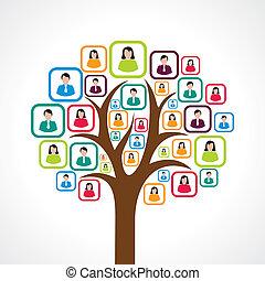 mídia, pessoas, árvore, criativo, social