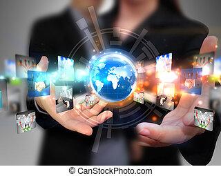 Mídia, pessoas, negócio, segurando,  social