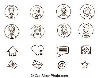 mídia, pessoas, social, conexões