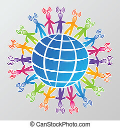 mídia, rede global, social