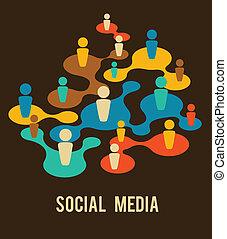 mídia, rede, ilustração, social