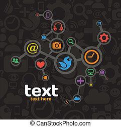 mídia, rede, social