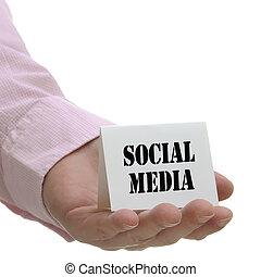 mídia, série, social, -, sinal