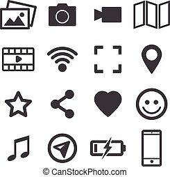mídia, set., ícones