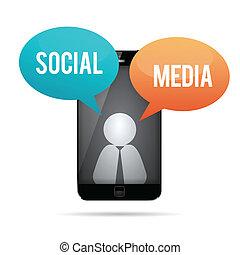 mídia, smartphone, conceito, social