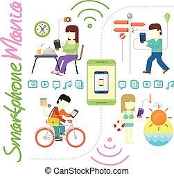 mídia, smartphone, mania, social