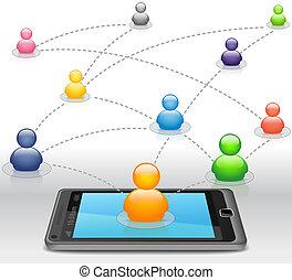 mídia, smartphone, rede, social