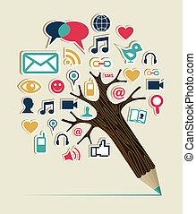 mídia, social, árvore, redes, lápis