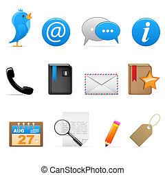 mídia, social, ícones