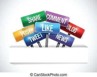 mídia, social, bolso, papel, sinais, estrada