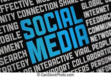 mídia, social, cartaz