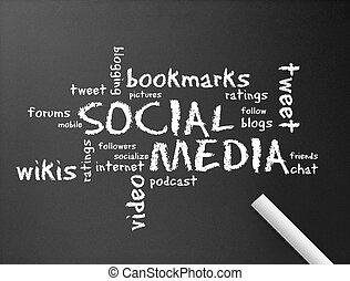 mídia, social, chalkboard, -