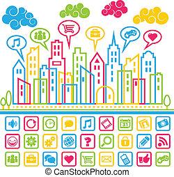 mídia, social, cidade