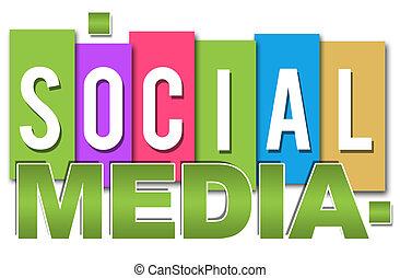 mídia, social, colorido, profissional