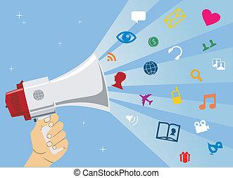 mídia, social, comunicação