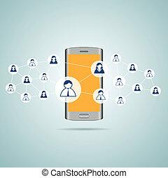 mídia, social, contatos