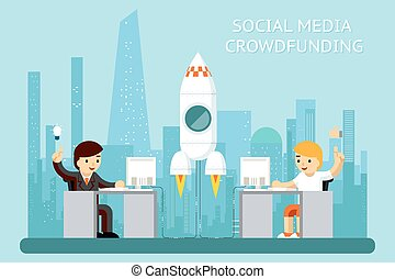 mídia, social, cowdfunding