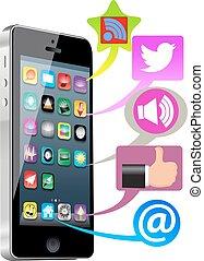 mídia, social, esperto, telefone