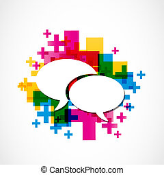 mídia, social, fala, grupo, positivo
