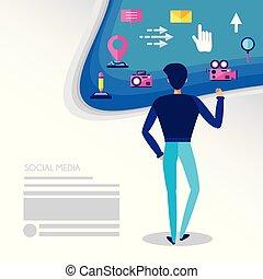mídia, social, homem, ícones