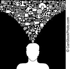 mídia, social, homem
