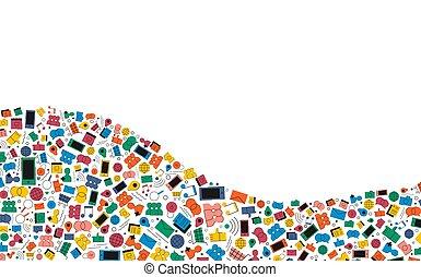 mídia, social, ilustração, fundo, ícone internet