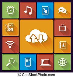 mídia, social, nuvem, ícones
