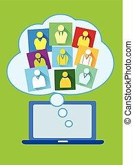 mídia, social, nuvem, computando