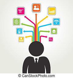 mídia, social, palavra, ícone