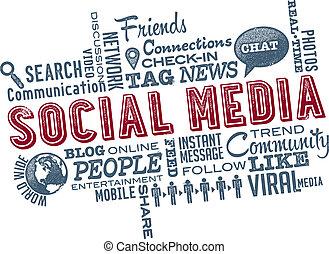mídia, social, palavra, nuvem, ícones
