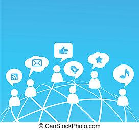 mídia, social, rede, fundo, ícones