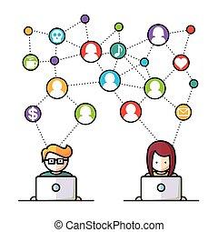 mídia, social, rede, pessoas