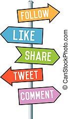 mídia, social, seta, sinais