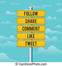 mídia, social, sinais estrada