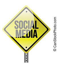 mídia, social, sinal