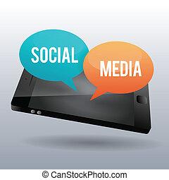 mídia, social, telefone