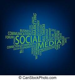 mídia, tag, nuvem, social
