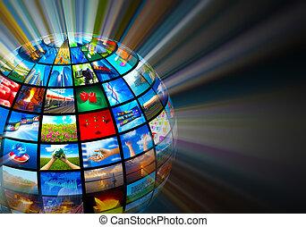 mídia, tecnologias, conceito