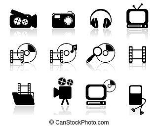 mídia, vetorial, ícones
